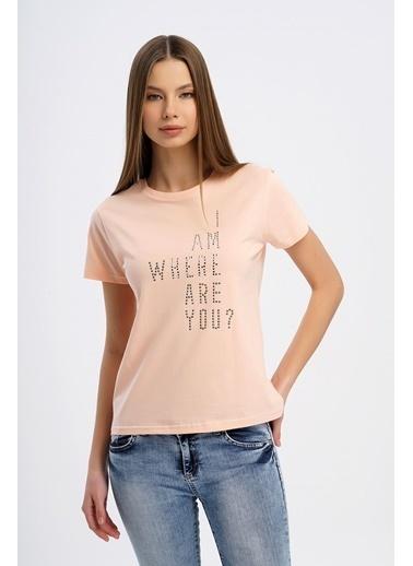 Nismia Taşlı Basic Tshirt Pembe